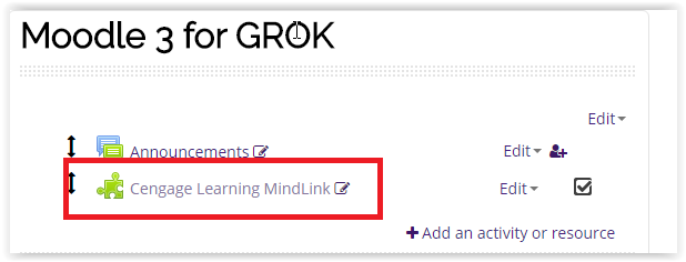 Cengage Learning MindLink activity on course homepage