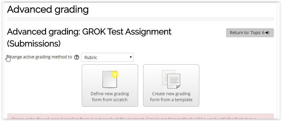 the advanced grading page.