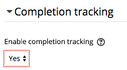 Completion Tracking settings