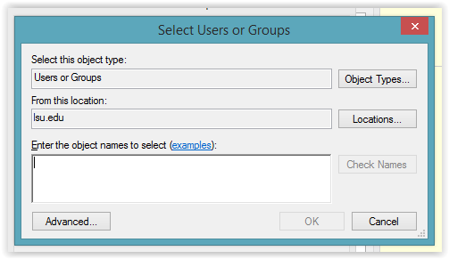 the select users or groups dialog box.