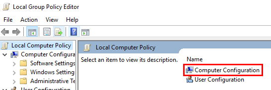 Computer Configuration highlighted in the group policy window