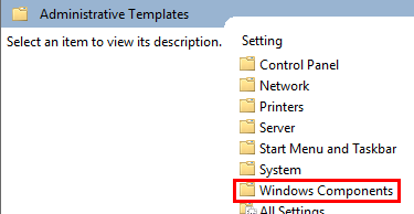 Windows Components highlighted in the group policy window
