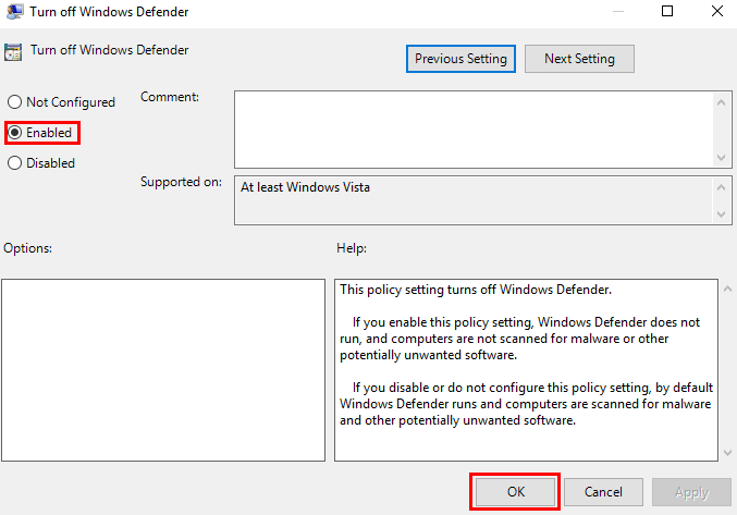 The settings for Turn off Windows Defender in group policy