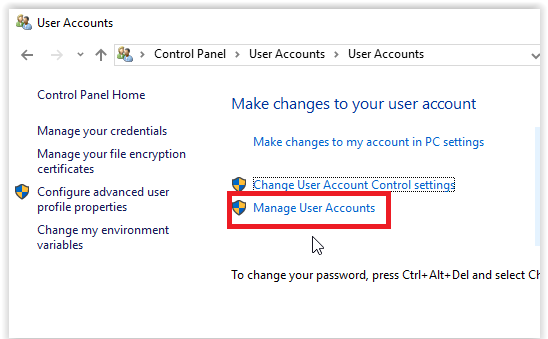 the manage user accounts button.