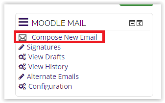 compose new moodle email button