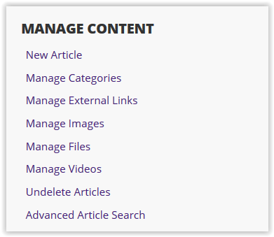 content queues with options like new article or manage categories.