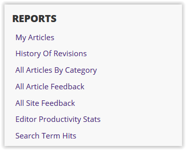 report queues with my articles or history of revisions as options and more.