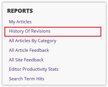 History of Revisions link