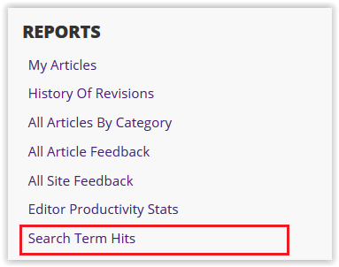 Search Term Hits option under the reports header