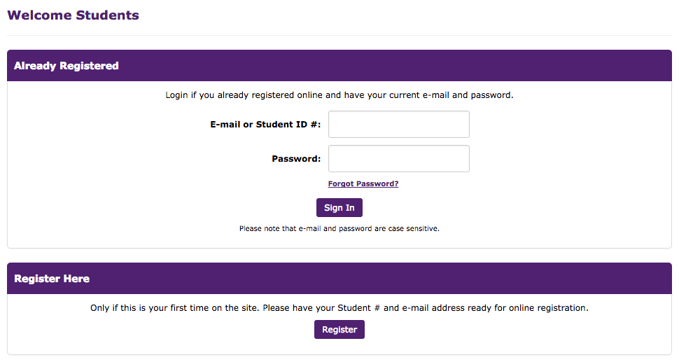 Student Login window