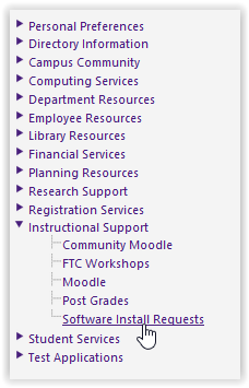 myLSU Software Install Requests under Instructional Support tab