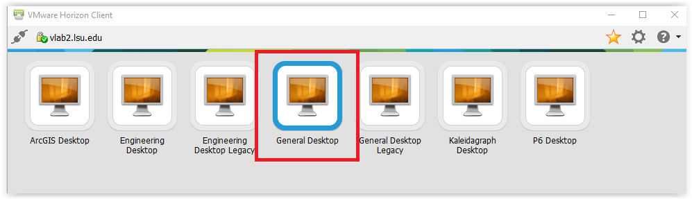 list of desktops available  on VMware