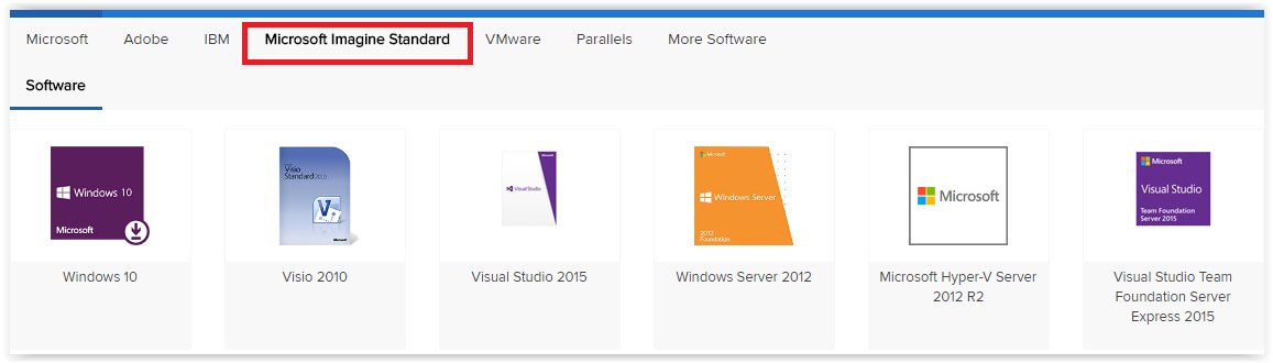 onthehub with microsoft imagine standard highlighted