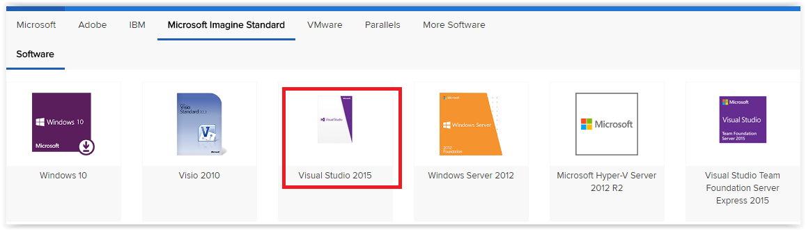 OnTheHub with Visual Studio 2015 Highlighted.