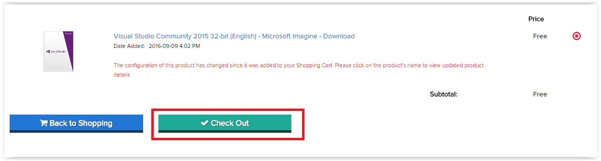 your cart with Check Out button Highlighted