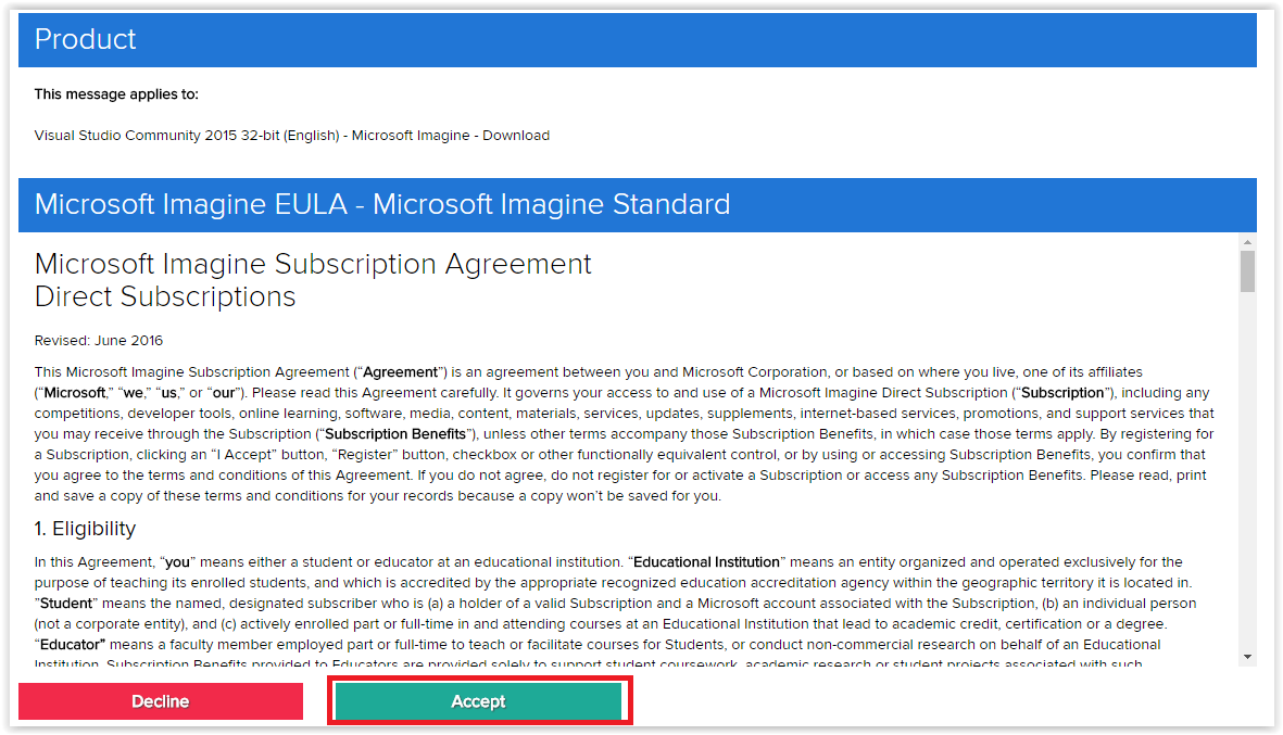 message and license agreement with accept button highlighted at the bottom