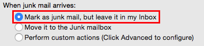 Preferences settings - Mark as junk mail, but leave it in my inbox