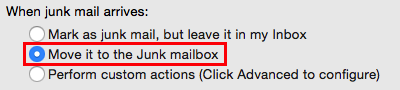 Preferences settings - Move it to the junk mailbox