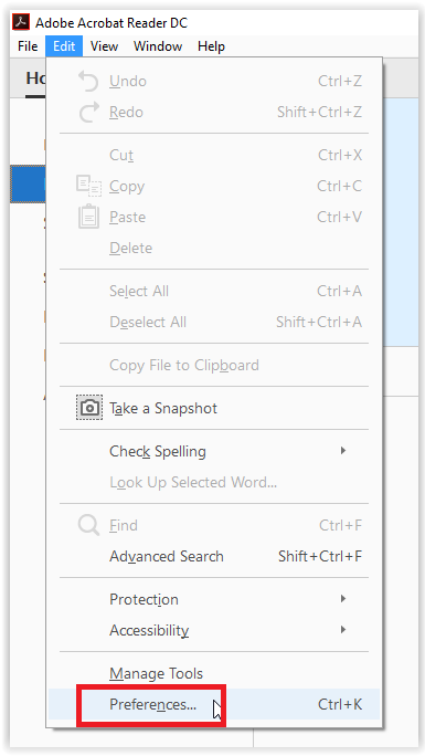 the edit tab with the preferences option highlighted