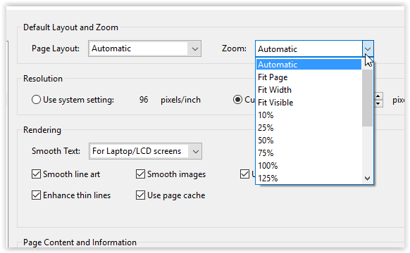 the zoom drop down menu