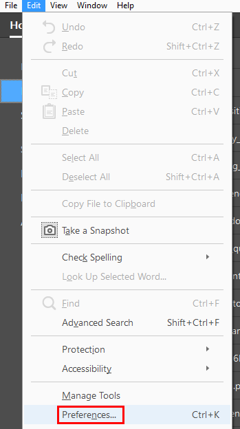 the preferences command on the edit toolbar.