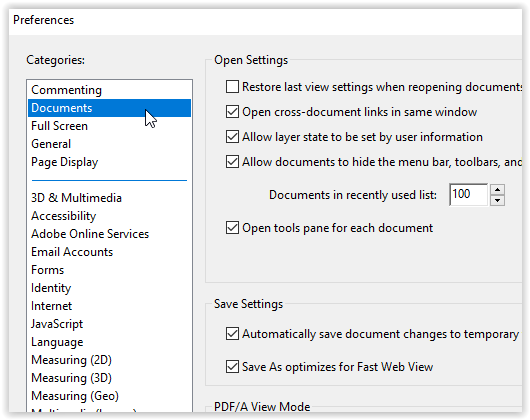 document categories on the preferences dialog box.