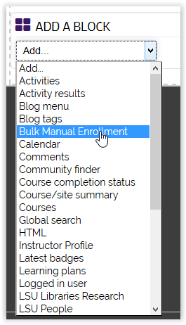 the add a block menu with Bulk Manual enrollment highlighted