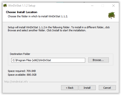 choosing installtion folder for WinDirSTat install
