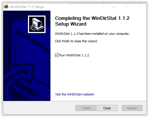 closing the setup wizard