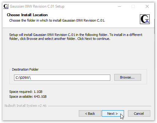 Installation folder location with next highlighted at the bottom right hand corner of the window.