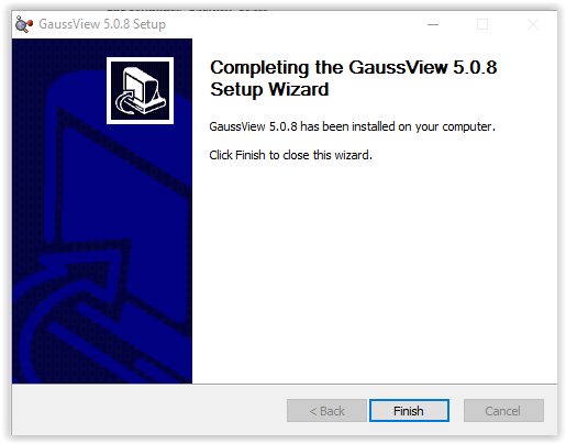 installation completion window for gaussview setup