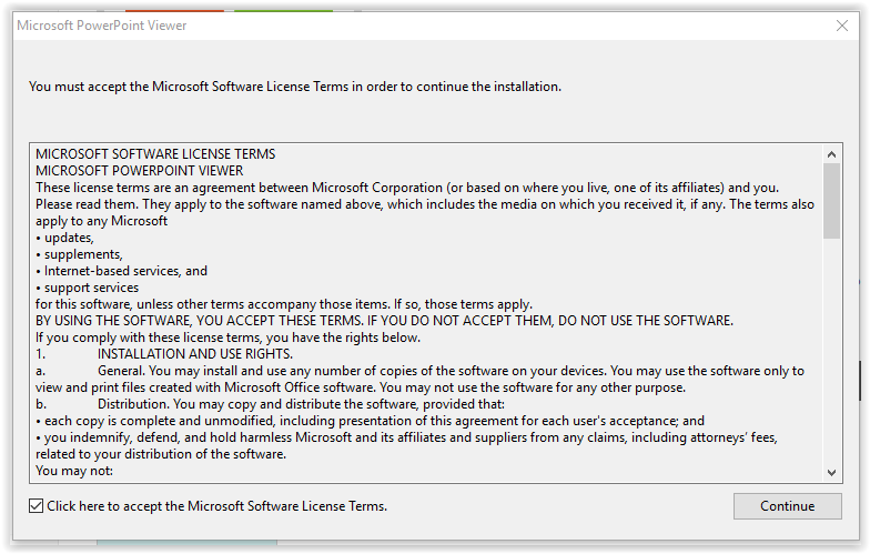 the powerpoint viewer lisence agreement