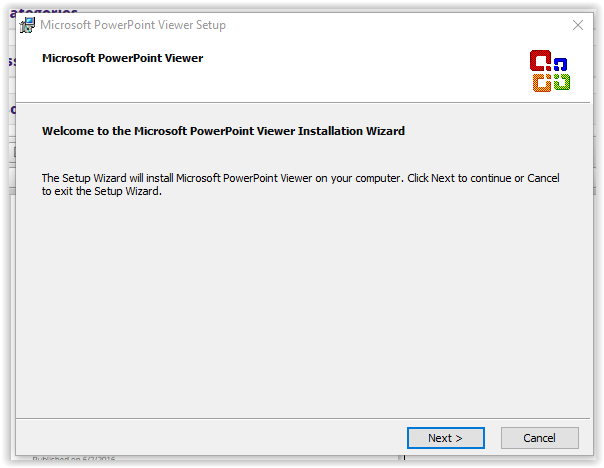 the microsoft powerpoint viewer installation setup wizard intro screen