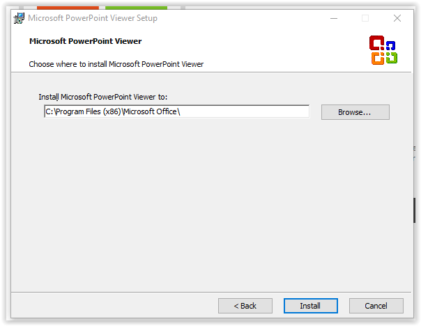 choosing where to install the Powerpoint viewer program