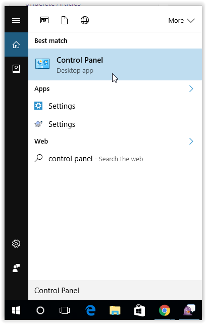 Search for the Control Panel in the start menu.