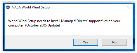 installation permission for Managed Direct X Support Files