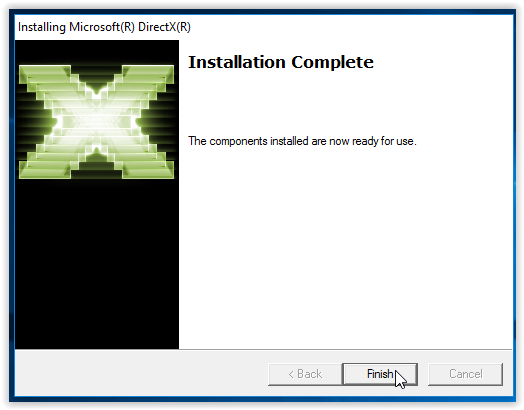 completed installation wizard for DirectX