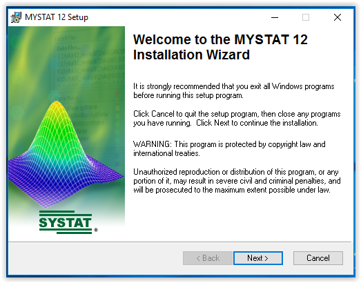 MYSTAT installation welcome screen