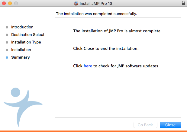 JMP 13 installation complete window