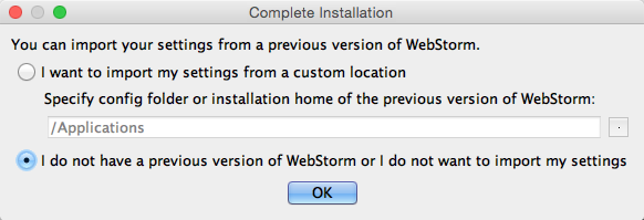 The complete installation window