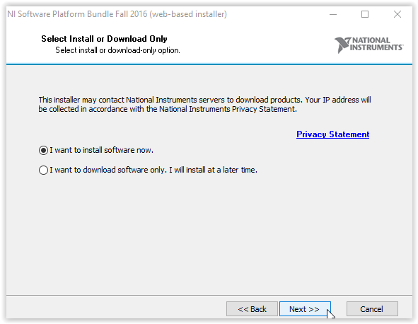 Installation window with I want to install software now highlighted and Next button highlighted at bottom of window.