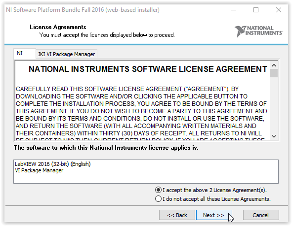 License agreement screen with Next at the bottom of the window.