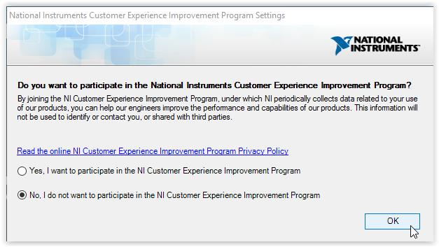 NI Customer Experience Improvement Program with OK highlighted at the bottom of the window.