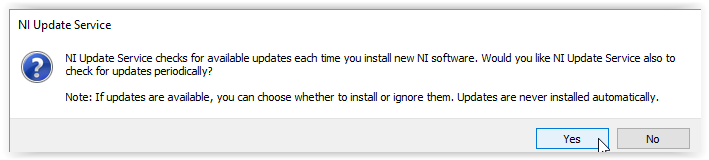 NI Update Service screen with yes highlighted at the bottom of the window.