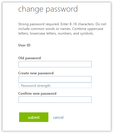 Drop down window to change the password.