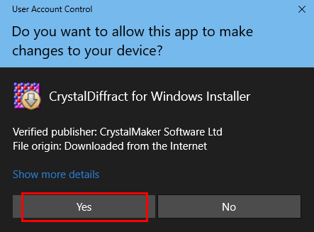User Account Control window for CrystalMaker Diffract