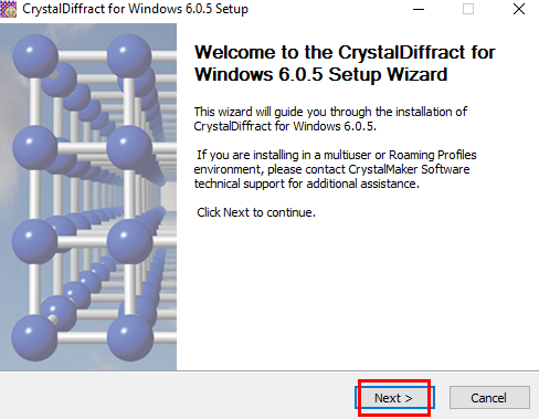 Welcome screen of CrystalMaker installation