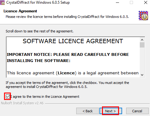 License agreement terms in CrystalMaker Diffract