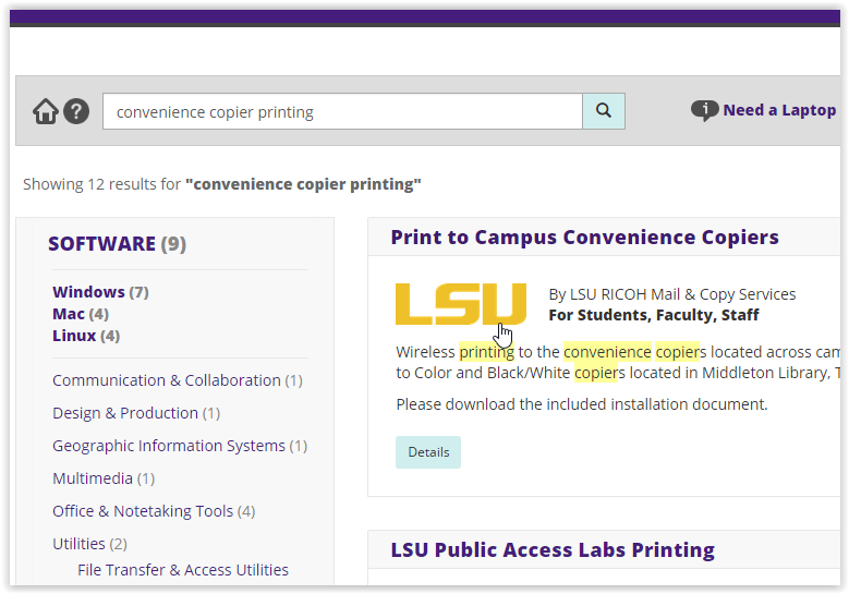 Campus Wireless Printing link on the left-hand side of the screen