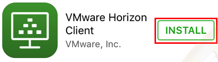 VMware horizon install button.